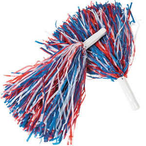 Red White and Blue Patriotic Pom-Poms (Pair) Cheerleader USA Costume Accessory