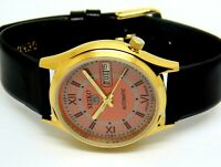 SEIKO5 AUTOMATIC MEN,S GOLD PLATED VINTAGE RED DIAL MADE JAPAN WATCH RUN ORDERm