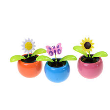 New Solar Powered Flip Flap Dancing Flower For Car Decor Dancing Toy Gift CQ