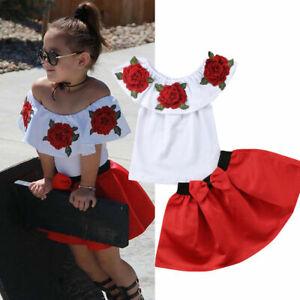 Toddler Girl Flower Off Shoulder Tops T-Shirt Bow Tutu Skirt Dress Outfits
