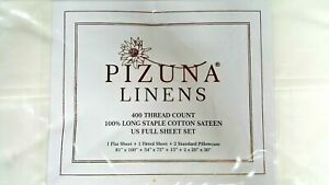 Pizuna Linens 400 Thread Count 100% Cotton Sateen FULL Sheet Set - White