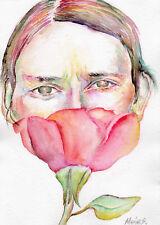 SURREAL PORTRAIT Original watercolour painting Surrealism Artwork by Marina Sot