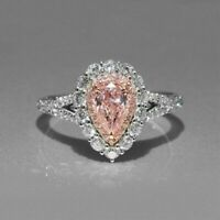 Certified 3.50 Ct Baby Pink Pear Diamond Engagement Ring in Real 14K White Gold