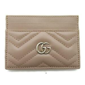 GUCCI GG Marmont Card Case 443127 Leather Chevron Quilted Leather Beige Pink