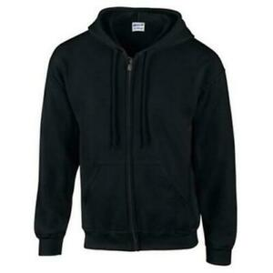 Gildan Adult Full Zip Hooded Fleece Sweatshirt Black 2XL