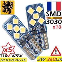 5x T10 W5W LED HP 360Lm 10SMD 3030 BLANC JOUR 5500-6000k 12V 2W FLIP ANTI ERREUR