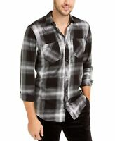 INC Mens Shirt Black Size XL Silver Shiny Plaid Print Button Up Pockets $65 #434