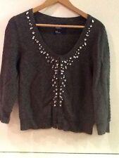 American Eagle AE Embellished Jewel Gray 3/4 Sleeve Cardigan Sweater M Medium