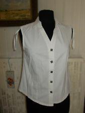 Chemisier coton blanc sans manches  BLANC DU NIL T.2 40/42