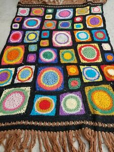 Handmade Crochet Afghan Granny Squares Circles Blanket Throw Vintage Rectangle