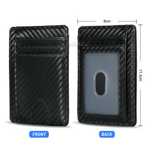Mens RFID Blocking Leather Slim Wallet Carbon Fiber ID Credit Card Money Holder