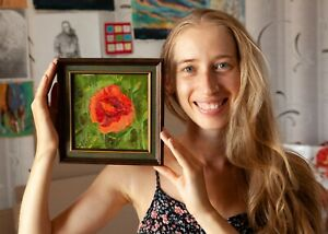 Poppy Flower - Framed ORIGINAL by M Sacke, One of a kind Floral Oil Painting