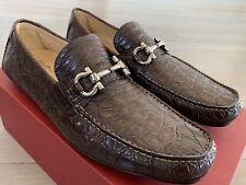 $2,500 Salvatore Ferragamo Parigi Brown Crocodile Shoes Size 9.5 Made in Italy