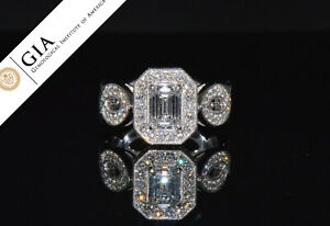 GIA Certified Natural 2.53Cts IF F Diamond 14K Gold Engagement Ring w/ Milgrain