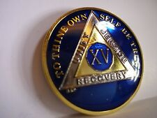 AA BSP Blue Gold 15 Year Coin Tri-Plate Alcoholics Anonymous Medallion Top Grade