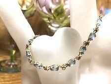 14K Yellow Gold Lady's 14 Aquamarine Gems Bracelet 7.5 Inches Long