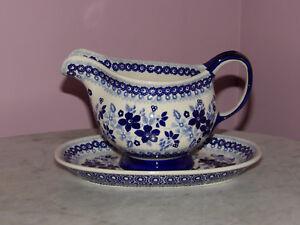 Polish Pottery Gravy Boat & Tray! UNIKAT Signature Rembrandt in Blue!