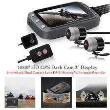 "1080P HD GPS Dash Cam 3"" Display Motorcycle Dual Camera Lens DVR 140° Recorder"