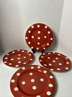 Roscher Earthenware Red And White Spotted Salad Dessert Plates Set Of 4