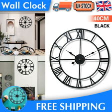 Large Metal Home Wall Clock Big Roman Numberals Giant Open Face 40cm Round Black