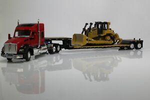 Kenworth T880 Lowboy CAT D6 Dozer Tractor Trailer Truck 1:64 Scale Diecast Model