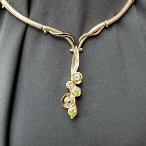 OOAK ARTISAN Peridot & Blue Topaz 925/14K Hinged Necklace