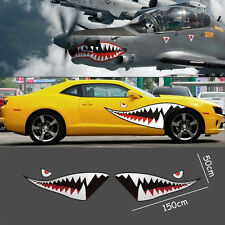 2pc Die-Cut 59'' Full Size Shark Mouth Decal Flying Tiger Vinyl Car Sticker DIY