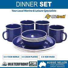 OZtrail 12 Pieces Enamel Plates Bowls Dinnerware Dinner Set Picnic Camping Trave