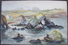 Signed Watercolour Painting of a Coastal View with Cottages (Possibly Irish)