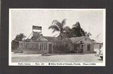 POSTCARD:  TED'S CABINS - MOTEL & RESTAURANT - APOPKA, FLORIDA - Unused, 1940s