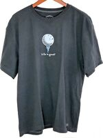 Life is Good Mens Large L Gray Golf Ball Tee Short Sleeve Cotton T Shirt