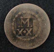 SCARCE 1834 BRAZIL MARANHAO 20 REIS OVERSTRIKE