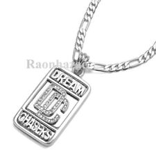 """SWAG MEEK MILL DREAM CHASERS DC MMG PENDANT 5mm 24"""" FIGARO CHAIN NECKLACE K7260S"""