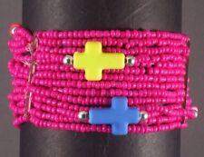 Christian Bracelet Multi Strand Stretch Design PINK Theme w Cross Contrast