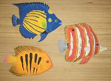 """XL HAND PAINTED SET OF 3 FISH METAL ART WALL HANGINGS EA FISH IS APPROX 12""""WID"""