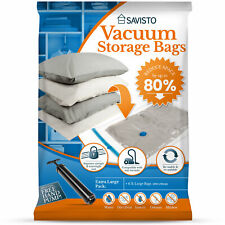 Savisto Large Vacuum Storage Bags Space Saver Zip Seal Pack For Clothes & Duvets