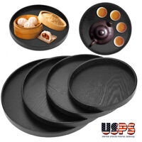 21-33cm Round Wood Serving Tray Food Tea Coffee Plate Breakfast Snack Table Tray