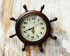 NEW 30CM WHEEL STYLE SOLID TIMBER WOODEN STATION WALL CLOCK MATT FINISH