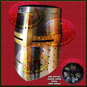 Middle Ages Great Helm Iron Cross Crusader Knights Templar Battle Helmet Armor