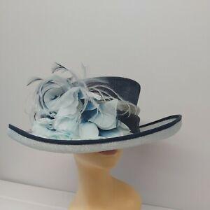 Jacques Vert Ladies Hat Navy Aqua  Flower Feathers  mother of bride formal dress
