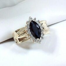 Estate Marquise Sapphire & Diamond Halo Wide Band Ring 14K Yellow Gold Size 6
