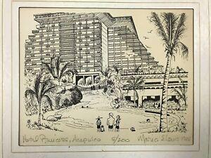 "1984 Hotel Princess Acapulco Print 5/200 Signed By Maria Elena 14""x11"""