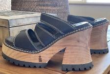 "Vintage London Underground ""Montego"" Leather and Wood Chunky Platform Heels"