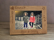birthday gift gift for her 5x7 Sisters Wood Frame,Engraved bamboo wood Frame