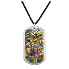 Fish Fly Fishing Lures Military Dog Tag Pendant Necklace with Cord