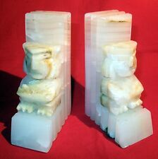PAIR OF VINTAGE TIKI MARBLE BOOKENDS * FREE SHIPPING