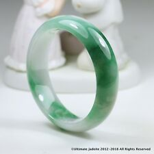 Green Jade Bangle - 58.95mm Vivid Green and Off White Mb12Ll10 Grade A