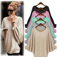 Women's Long Sleeve Oversized Pullover Sweater Batwing Baggy Jumper Tops Blouse/