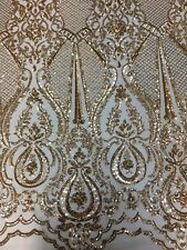 Gold Chantal Deluxe 4 Way Stretch Nylon Spandex Wedding Prom Sequin Fabric