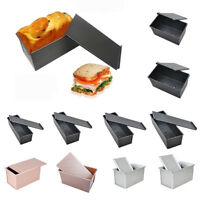 Nonstick Rectangular Metal Loaf Bread Cake Pan Tin with Cover Toast Molds